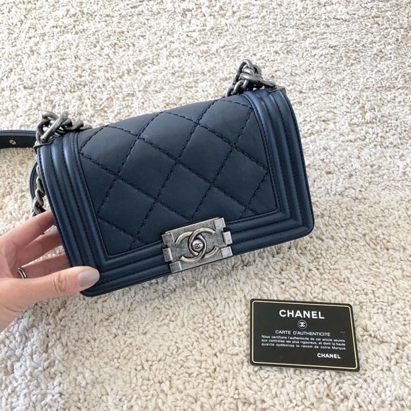 46cfeaa7a7e02b CHANEL Handbags - Chanel Calfskin Double Stitch Small Boy Bag Navy